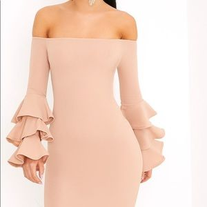 Nude Bardot Midi Dress